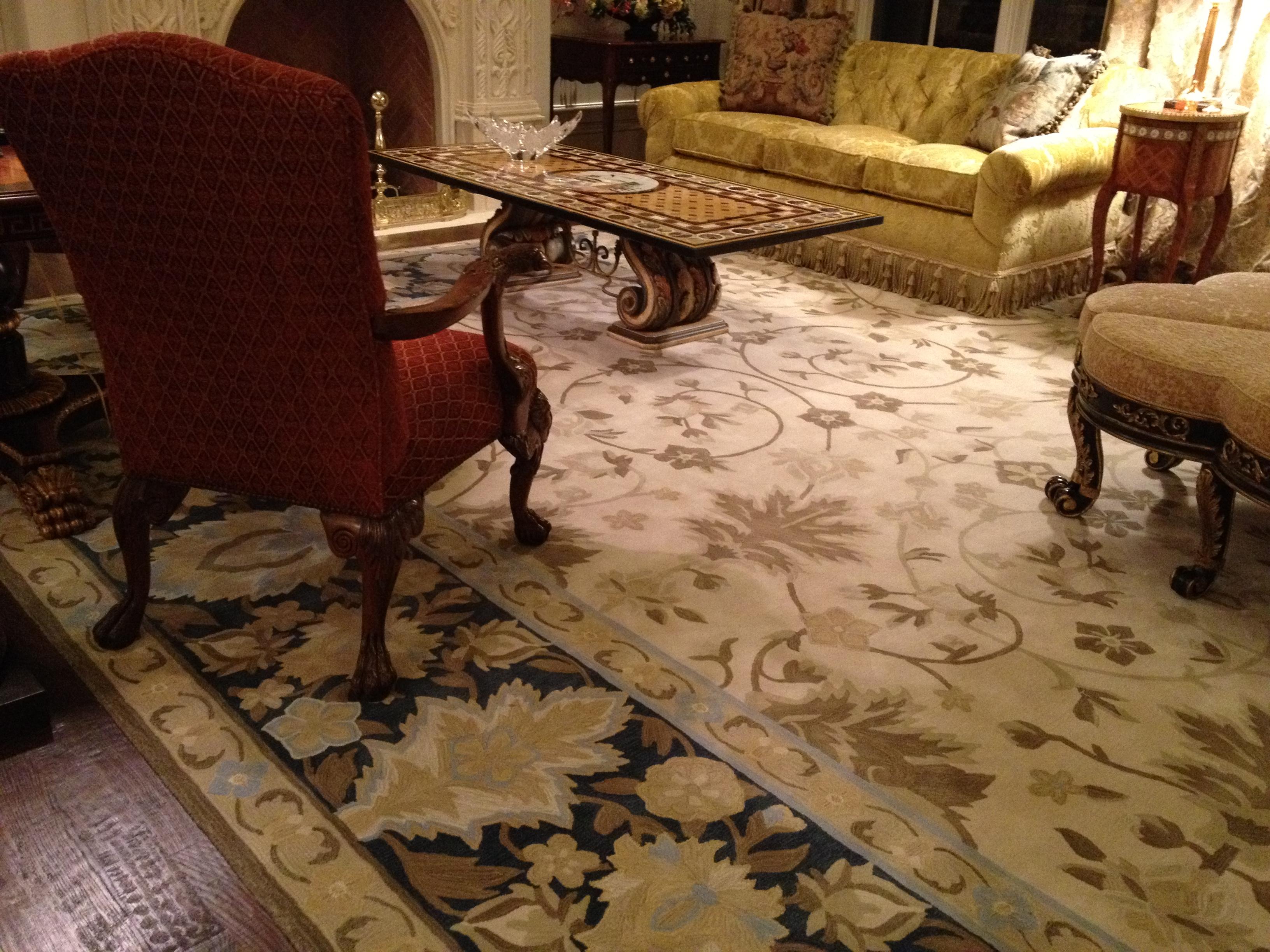 Handscraped Hardwoods under the Custom Carpet rug