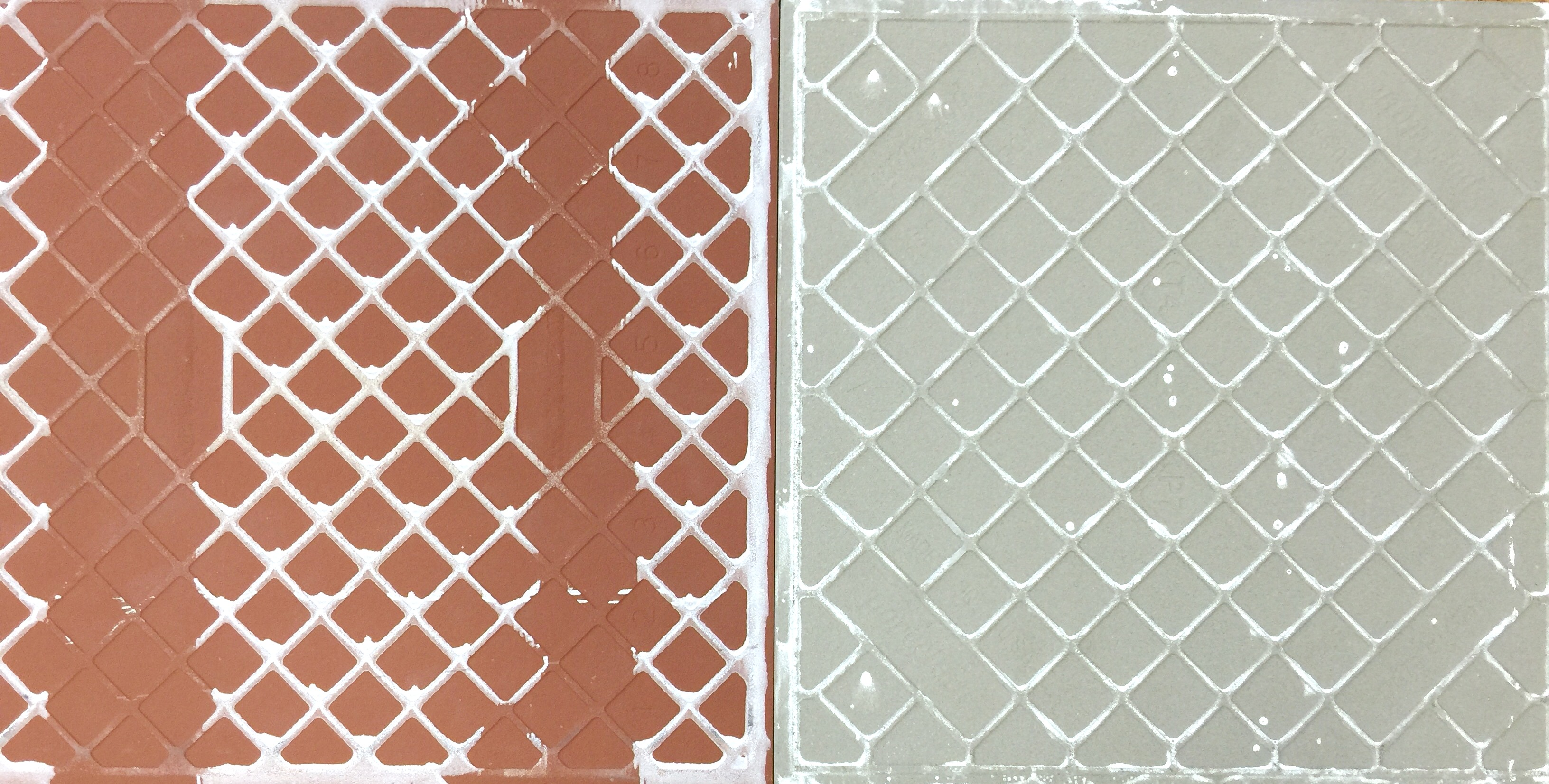 Ceramic vs porcelain regular ceramic tile is often characterized by a red brown or white colored bisque while a porcelain tile is a white or gray color dailygadgetfo Choice Image